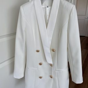 Double-breasted blazer dress with gold buttons